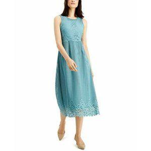 NWT ALFANI Lace Midi Sleeveless A-Line Dress Jade